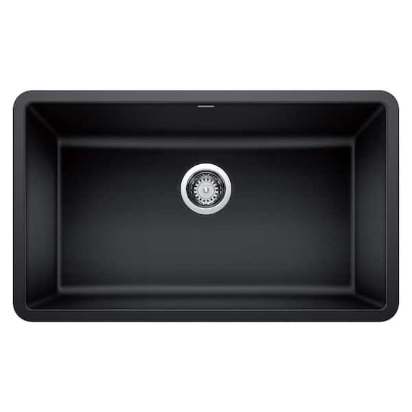 Blanco Precis Undermount Granite Composite 30 In Single Bowl Kitchen Sink Anthracite 442534 The Home Depot
