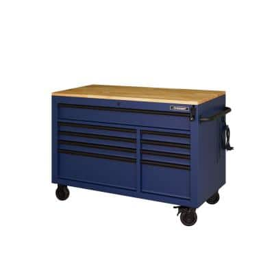 Heavy-Duty 52 in. 9-Drawer Mobile Workbench with Adjustable-Height Solid Wood Top in Matte Blue