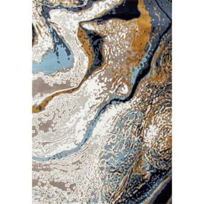 Titanium Geode Linen 8 ft. x 11 ft. Area Rug