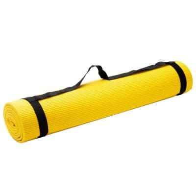 All Purpose Extra Thick Yellow Fitness and Exercise 24 in. x 68 in. Yoga Mat with Carrying Strap