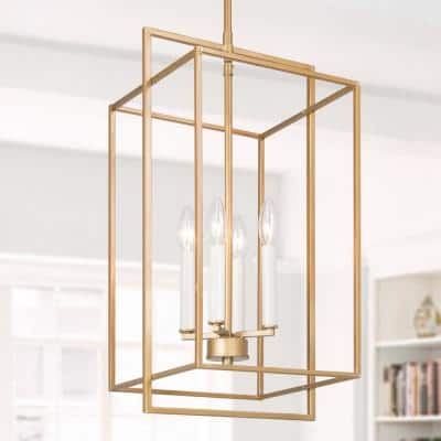 Modern Cage Chandelier Pendant Light Ray 4-Light Antique Gold Lantern Island Chandelier Light