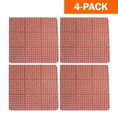 36 in. x 36 in. Industrial Rubber Interlocking Mats (Set of 4)