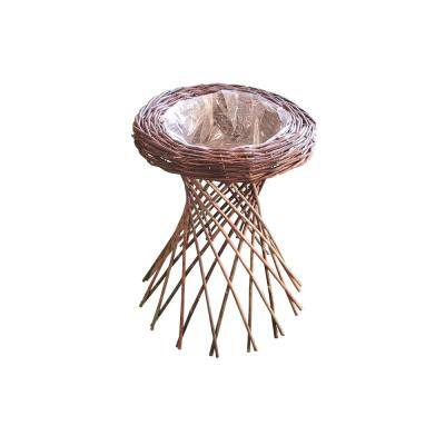 16 in. W x 22 in. H Brown Willow Pedestal Planter