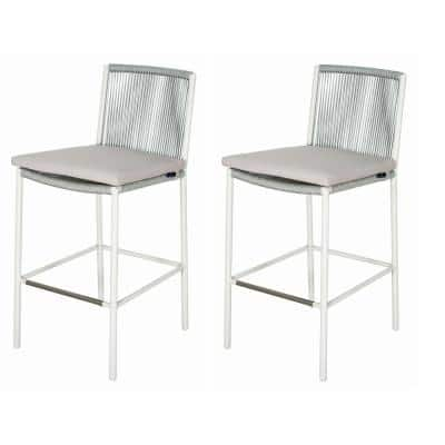 Skopelos White Aluminum Outdoor Bar Stool with Taupe Cushions (2-Pack)