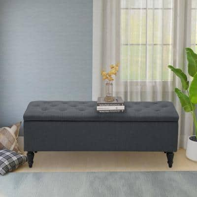 45 in. Grey Linen Fabric Upholstered Flip Top Tufted Storage Bench 45 in. L x 18 in. W x 18 in. H