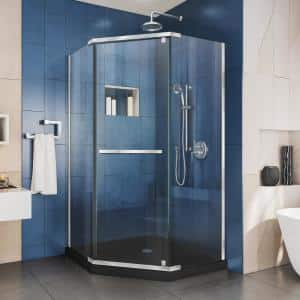 Prism 42 in. x 42 in. x 74.75 in. Semi-Frameless Pivot Neo-Angle Shower Enclosure in Chrome with Black Shower Base