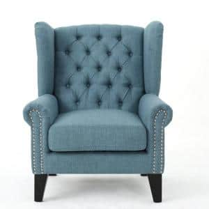 Laird Blue and Dark Brown Upholstered Accent Chair