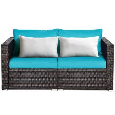 2-Piece Wicker Outdoor Couch Loveseats with Turquoise Cushions and White Pillow