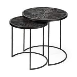 Chakra 2-Piece 20 in. Black Small Round Wood Coffee Table Set with Nesting Tables