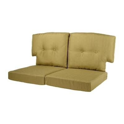 Charlottetown 23.5 in. x 26.5 in. 4-Piece Outdoor Loveseat Cushion Set in Green Bean