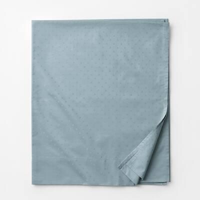 Legends Luxury Dot Blue Haze 500-Thread Count Cotton Sateen King Flat Sheet