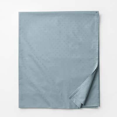 Legends Luxury Dot Blue Haze 500-Thread Count Cotton Sateen Queen Flat Sheet