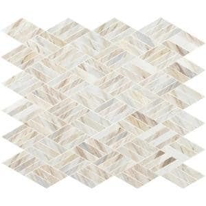 Angora Rhombus 12.45 in. x 10.83 in. x 10mm Polished Marble Mesh-Mounted Mosaic Wall Tile (9.4 sq. ft./Case)