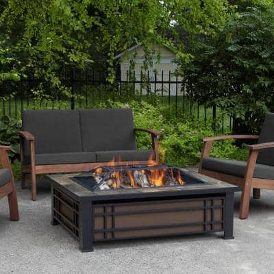 Hamilton 44 in. x 13 in. Rectangle Steel and Slate Natural Wood-Burning Fire Pit in Black and Brown with Slate Top