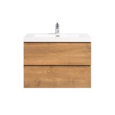 30 in. W x 19.5 in. D x 20.5 in. H Bathroom Vanity Side Cabinet in Oak with White Top and Sink