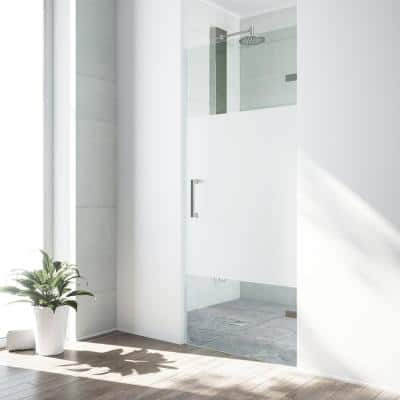 Soho 28 to 29 in. W x 71 in. H Pivot Frameless Shower Door in Stainless Steel with Frosted Glass