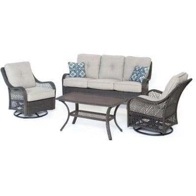 Orleans 4-Piece All-Weather Wicker Patio Deep Seating Set with Silver Lining Cushions