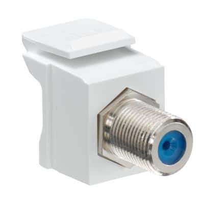 QuickPort F-Type Nickel-Plated Connector, White