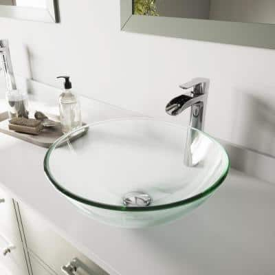 Glass Round Vessel Bathroom Sink in Iridescent with Niko Faucet and Pop-Up Drain in Chrome