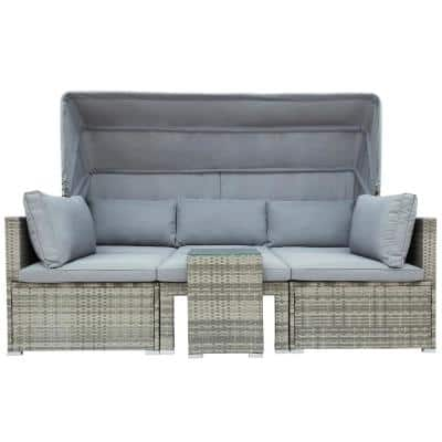 Gray PE Wicker Rattan Outdoor Patio Daybed with Gray Cushions and Tempered Glass Side Table