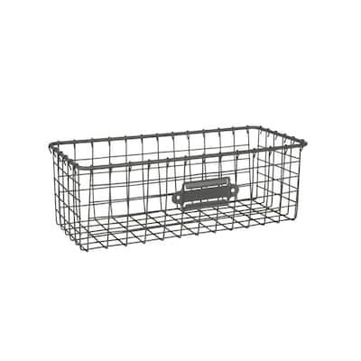12 in. D x 5.5 in. W x 4 in. H Industrial Gray Vintage Steel Wire Storage Basket