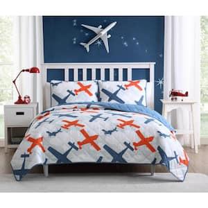 Airplane Blue Quilt Full/Queen Set