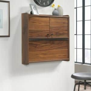 28 in. Rectangular Grand Walnut Floating Desk with Built-In Storage