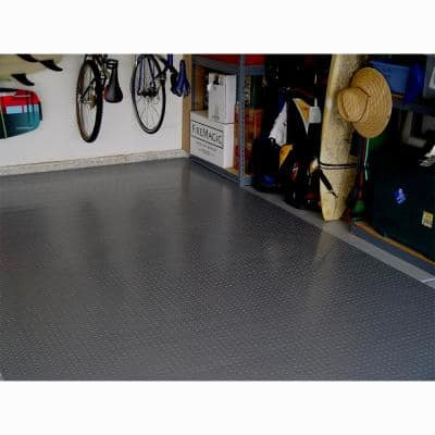 5 ft. x 7.5 ft. Charcoal Textured PVC Motorcycle Mat