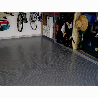 5 ft. x 12 ft. Charcoal Textured PVC Long Golf Cart Mat
