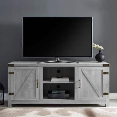 16 in. Stone Gray Composite TV Stand 65 in. with Doors