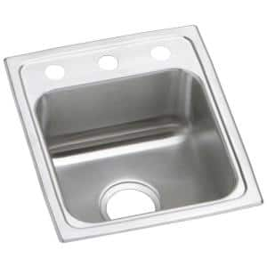 Pacemaker 20 Gauge Stainless Steel 15 in. 3-Hole Drop-in Bar Sink