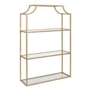 Ciel 6 in. x 20 in. x 30 in. Gold Metal Floating Decorative Wall Shelf Without Brackets