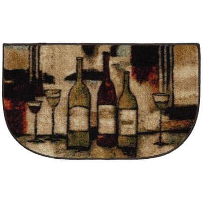 Wine and Glasses Brown 18 in. x 30 in. Machine Washable Kitchen Rug