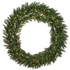 60 in. Feel Real(R) Grande Fir Artificial Christmas Wreath with 300 Warm White LED Lights