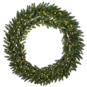72 in. Feel Real(R) Grande Artificial Christmas Fir Wreath with 400 Warm White LED Lights