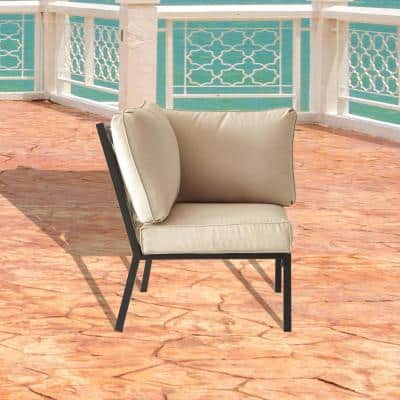 Metal Outdoor Corner Lounge Chair with Beige Cushion