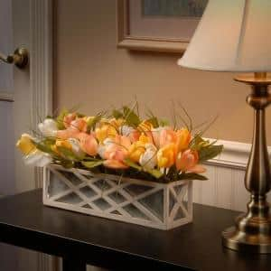 20 in. Planter with Assorted Color Tulips