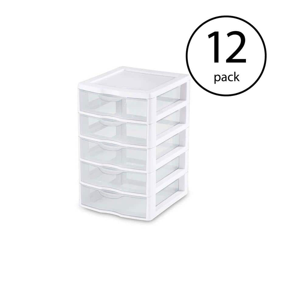 Sterilite Clearview Plastic Small 5 Drawer Desktop Storage Unit White 12 Pack 12 X 20758004 The Home Depot