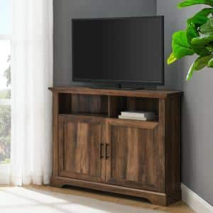 44 in. Reclaimed Barnwood Composite Corner TV Stand Fits TVs Up to 48 in. with Storage Doors