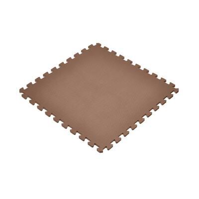 Brown 24 in. x 24 in. EVA Foam Non-Toxic Solid Color Interlocking Tiles (192 sq. ft. - 48 tiles)