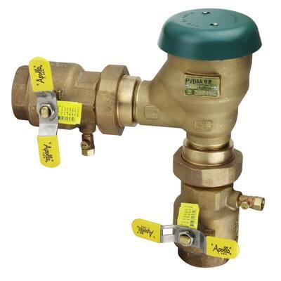 1-1/2 in. Bronze FIP Pressure Vacuum Breaker with Union Shut-Off Valves