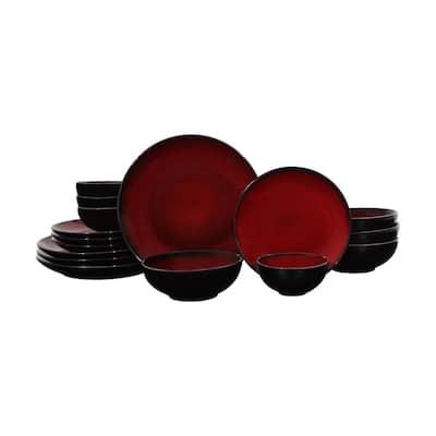 Soma 16-Piece Modern Red Porcelain Dinnerware Set (Service for 4)
