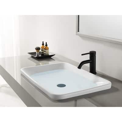 Contemporary Single Hole Single-Handle Bathroom Faucet in Matte Black