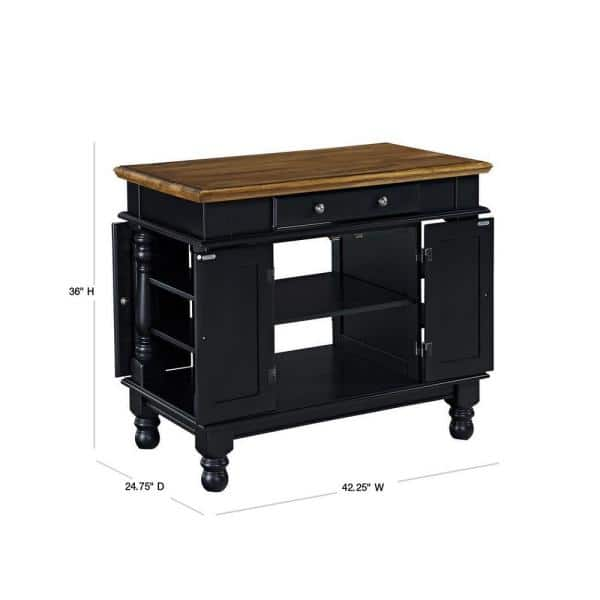 Homestyles Americana Black Kitchen Island With Storage 5082 94 The Home Depot