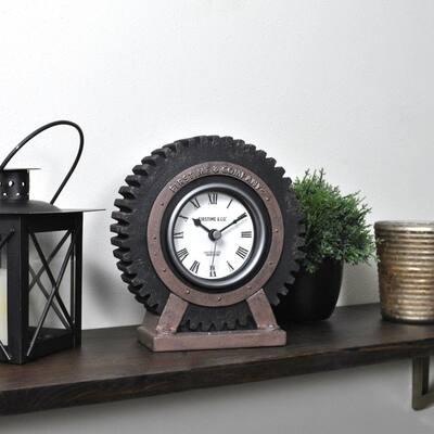 Gear in Satin Black Tabletop Clock