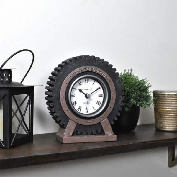 Firstime Co Gear In Satin Black Tabletop Clock 99708 The Home Depot