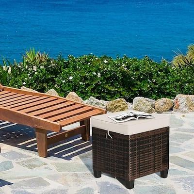 2 Rattan Ottomans Beige Cushioned Seat Foot Rest Set Outdoor Garden Furniture