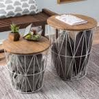 White 2-Piece Nesting Veneer Metal and Wood Round Accent Table Set