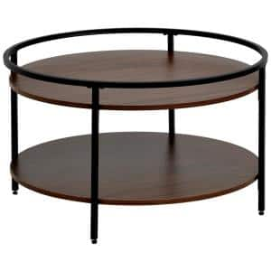 31.1 in. Brown Round Metal and Wood Coffee Table with Sink Top