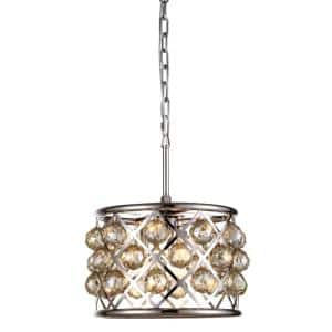 Timeless Home 12 in. L x 12 in. W x 9 in. H 3-Light Polished Nickel with Golden Teak Crystal Contemporary Pendant